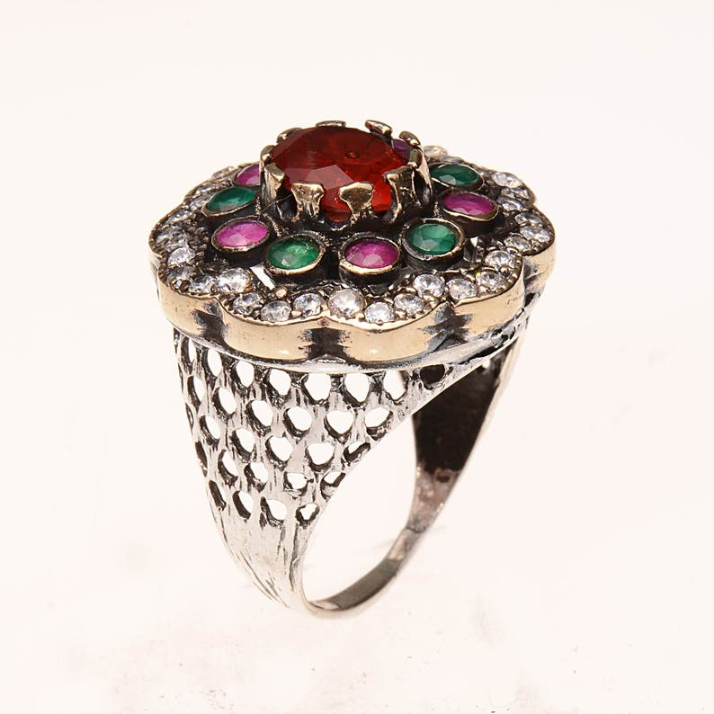 Authentic Ottoman style sterling silver ring for women ZB1048