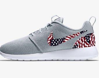 9caac9f90957 Old Glory Stars and Stripes Custom Grey Nike Roshe Run Sneakers