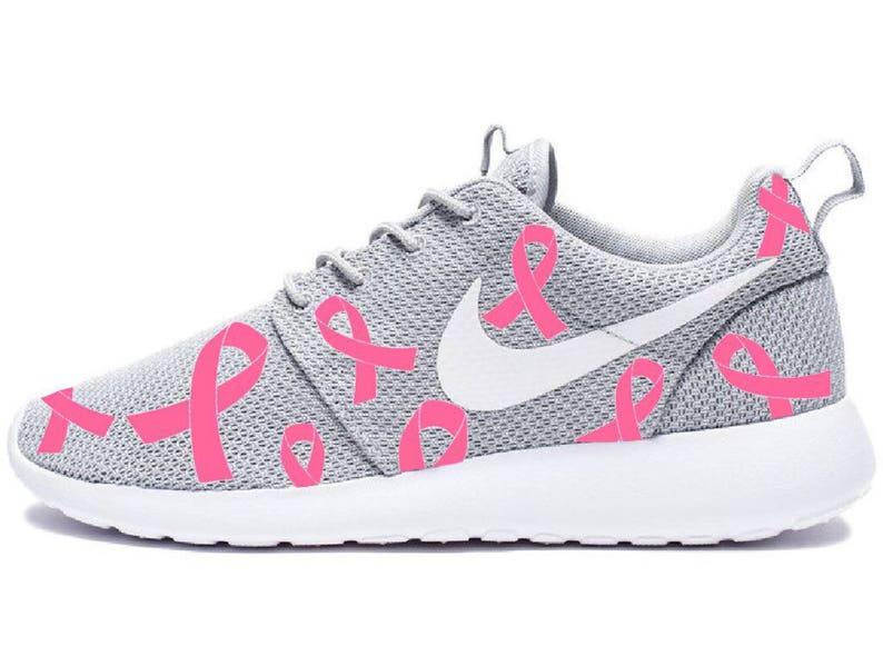 bf2a3b1de9aaa Pink Breast Cancer Awareness Custom Gray Nike Roshe Run