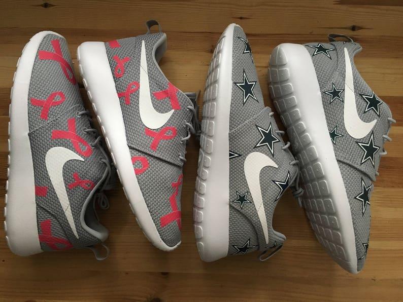 419297eb25412 Pink Breast Cancer Awareness Custom Gray Nike Roshe Run | Etsy