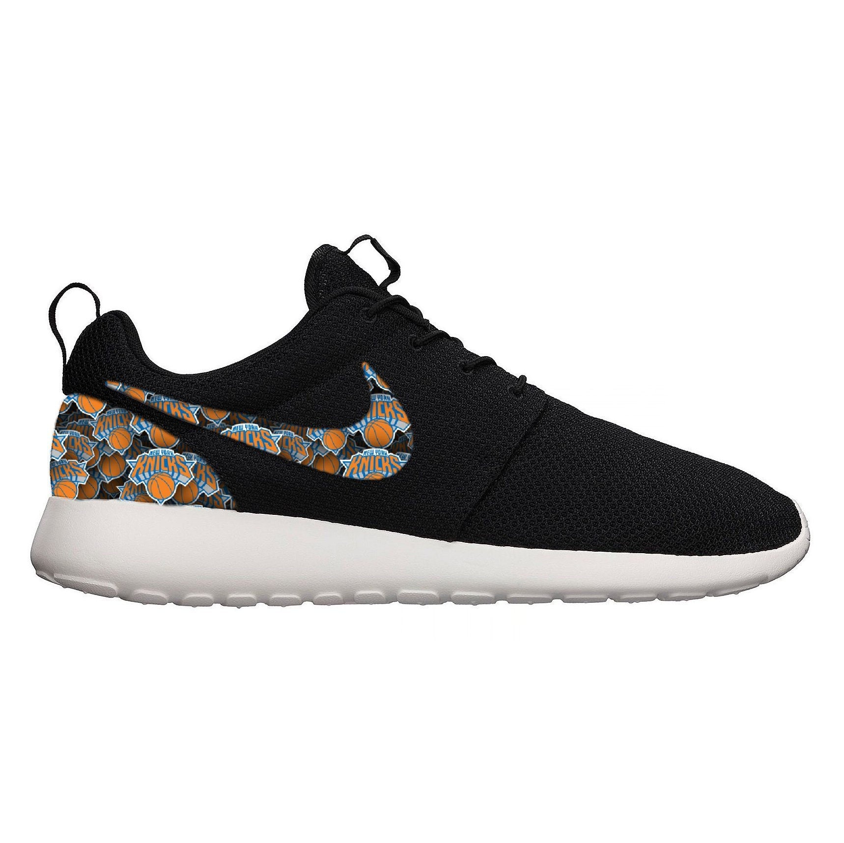 low priced 14e0f d57e0 New York Knicks NY NBA Custom Black Nike Roshe Run Sneakers   Etsy