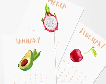 2018 Printable Calendar|Watercolor Fruit|Vegan|Kitchen Print Decor|12 Months|Instant Digital Download|Monthly Planner|8x10|Christmas Gift