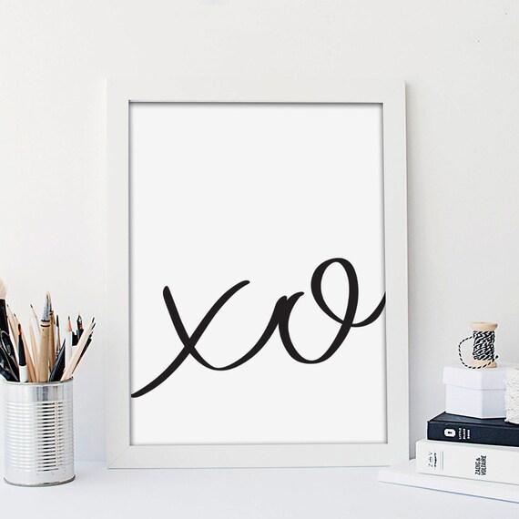 Xo Print Black And White Print Minimalist Art Print Love Wall Print Fashion Typography Print Valentines Gift Hugs And Kisses 11x14 18x24 by Etsy