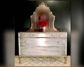 Vintage Antiqued Silver with Gold Gilding Solid Wood  Dresser Vanity