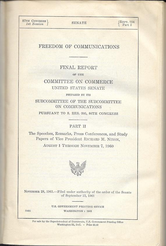 foto de The Speeches of Vice President RIchard M. Nixon Presidential   Etsy
