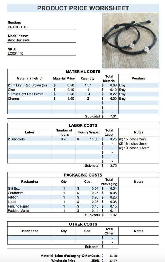 Price Etsy Seller Product Price Worksheet Pricing Template Product Specification Sheet Jewelry Price Calculator