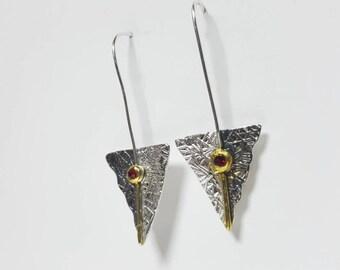 Swarovski Crystal Earrings Red, Delicate Earrings, Delicate Drop Earrings, Dainty Earrings, Silver Dainty Earrings, Fine Silver Earrings