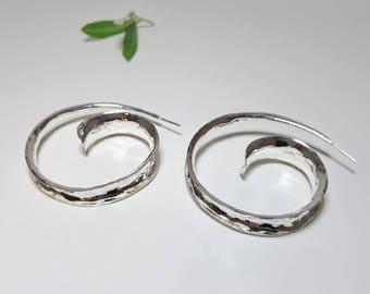 Spiral Earrings, Spiral Hoops, Spiral Hoop Earrings, Large Bohemian Earrings, Big Silver Earrings, Silver Drop Earrings, Silver Drops