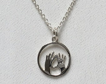 925 Sterling Silver Feminist Vulva Vagina Hands Pendant and Chain   Feminist Necklace   Feminist Jewelry