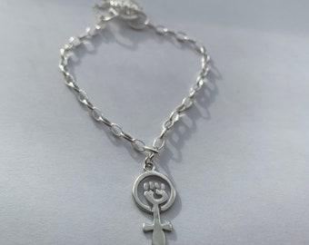 925 Silver Feminist Fist Charm Bracelet