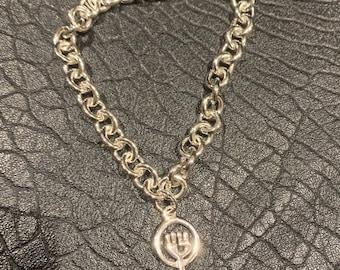 925 Silver Feminist Venus Fist Symbol Heavy Bracelet.