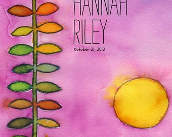 Sweet Morning - watercolor personalized name print