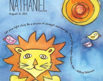 Little Leo - watercolor personalized name print