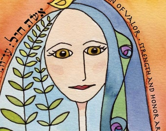 Woman of Valor  - spiritual watercolor print and verse, perfect gift to honor a special woman
