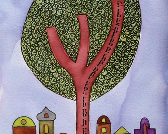 Tree of Life - 11x14 watercolor print and verse