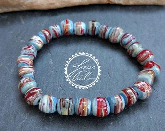 Elastic Unisex Glass Bead bracelet/Lampwork/unique/Bohemian/Gypsy/Boho jewelry/bracelet men/Gypsy Bracelet/JOIAS Pal