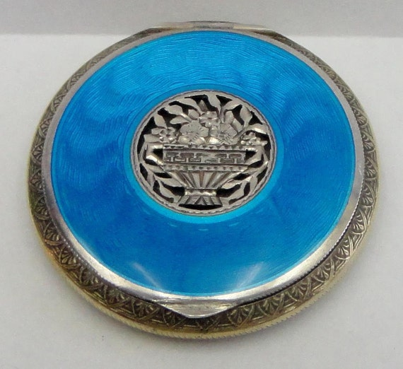 Austrian  Blue Guilloche Enamel COMPACT