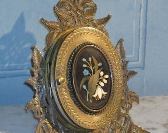 Pietra Dura Bronze Triptic Frame.
