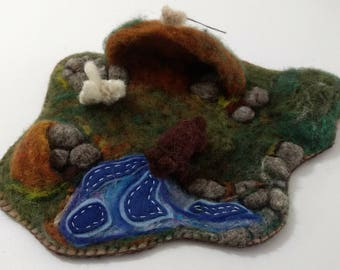 Needle felted wool cave by the river playmat