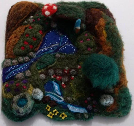 Large Needle felted wool enchanted forest playmat