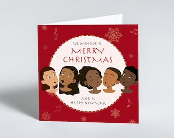 We Wish You a Merry Christmas singing choir greeting cards. Christmas card for the family. Singing children greeting card.