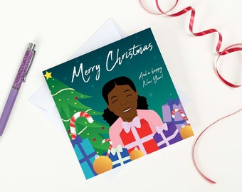 Merry Christmas and a happy New Year greeting card featuring young black girl.