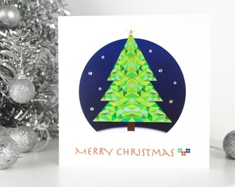 Merry Christmas greeting card with illustration of Christmas Tree. Available as single cards or a set of 4. Hand finished with gems.