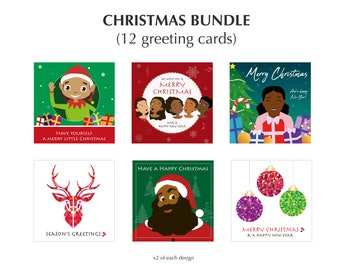 Diverse Christmas Card set. 12 greeting cards for the festive season illustrated by Leanne Creative