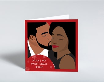 All I want for Christmas greeting card featuring a black couple. Holiday card for husband and wife/boyfriend and girlfriend