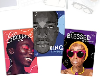 A5 prints featuring illustrated portraits of black people by Leanne Creative. Single sided print - unframed.