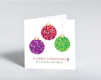 Colourful Bauble Merry Christmas & a Happy New Year greeting card