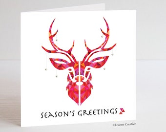 Reindeer Christmas Card with modern design finished with gems. Available as a set of 4. Season's Greetings blank inside greeting card.