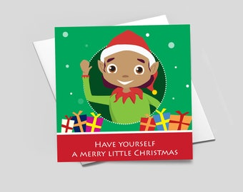 Merry Little Christmas greeting card featuring elf character designed by Leanne Creative. Glossy card and hand-finished with gems