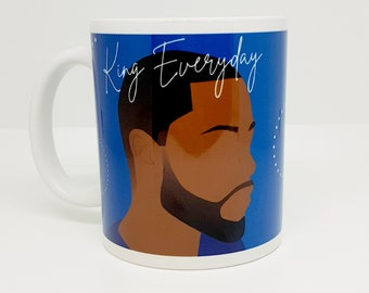 King Everyday mug featuring black man illustration and poem by Leanne Creative