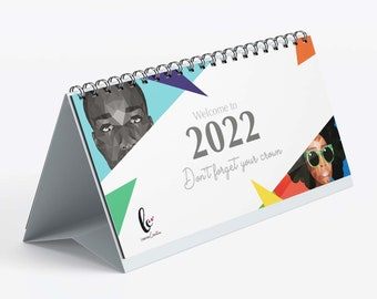 2022 desktop calendar (DL landscape) featuring affirmations and monthly challenges. Illustrated portraits by Leanne Creative.