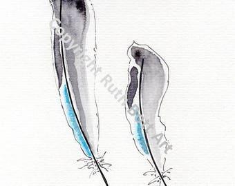 Great Tit - original watercolour & pen drawing