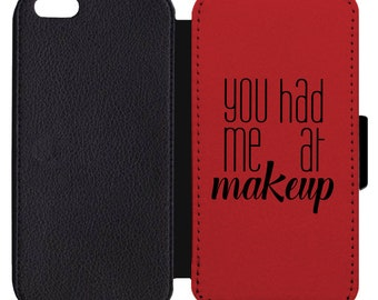 7153b9051bf34 You Had Me At Makeup Kiss Lipstick Print Pattern Flip Wallet Case Apple  iPhone 4 5 5S SE 6 6S 7 7S 8 8S X XS Plus Max XR