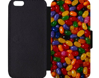 Jelly Bean Candy Print Leather Flip Wallet Case Apple iPhone 5 5S SE 6 6S 7 7S 8 8S X Plus
