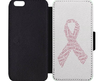 Breast Cancer Pink Ribbon October Awareness Pattern Leather Flip Wallet Case Apple iPhone 5 5S SE 6 6S 7 7S 8 8S X Plus