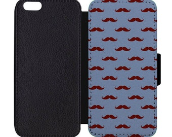 Red Blue Mustache Print Pattern Leather Flip Wallet Case Apple iPhone 5 5S SE 6 6S 7 7S 8 8S X Plus