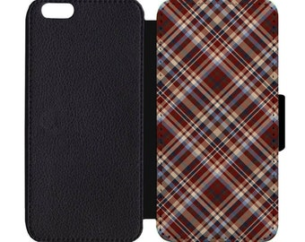 Father's Day Plaid Print Pattern Leather Flip Wallet Case Apple iPhone 5 5S SE 6 6S 7 7S 8 8S X Plus