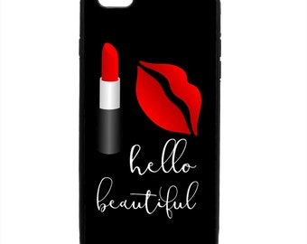Hello Beautiful Lipstick Kiss Print Phone Case Samsung Galaxy S5 S6 S7 S8 S9 Note Edge iPhone 4 4S 5 5S 5C 6 6S 7 7S 8 8S X SE Plus