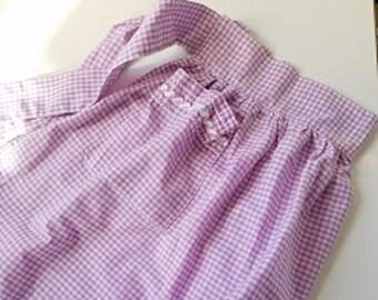 Vintage Purple Gingham Apron Ric Rac Cross-stitch Hand-made Farmhouse Country Apron