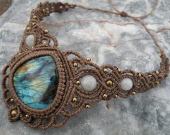 Unique macrame necklace Choker with aventurine stone Gothic jewelry Boho necklace Black necklace Statement necklace Statement jewelry