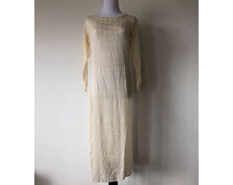 S 1920's cream colored beaded drop waist dress or wedding gown long skeeved pleasted flapper