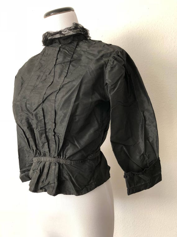 S/M 1900 Black High Neck Mourning Blouse Taffeta Wearable Lace