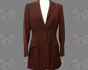 1970s does 1930s Longline Equestrian Hacking Show Riding Jacket Blazer Apparel, Made in England, Worsted Wool, Chocolate Brown