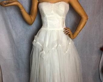 b230e3fc1a8 AS IS 1950s White Tulle Prom Dress