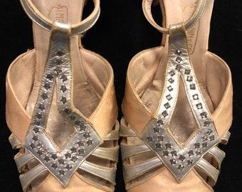 9c338008b8d8 Glamorous 1920s 1930s I. Magnin Star Studded Rhinestone and Satin Heels  Shoes