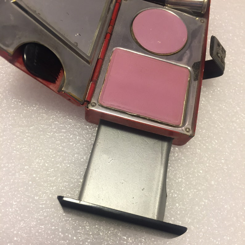 Mirror Blush and Powder areas. 1920s 1930s Art Deco Flapper Minaudiere Compact Purse with Secret Drawer Lipstick Comb